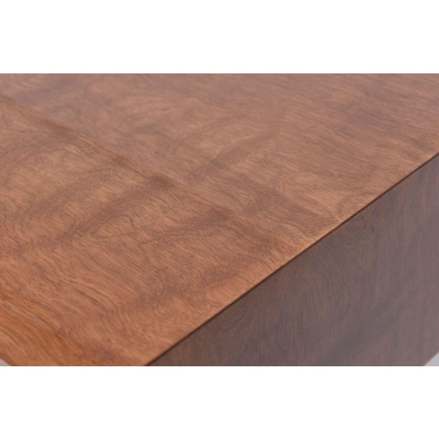 Mahogany Italian Modern Walnut and Glass Top Two-Tiered Low Table, Paulo Buffa Attributed For Sale - Image 7 of 11