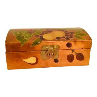1980s Hand-Painted Wooden Box For Sale
