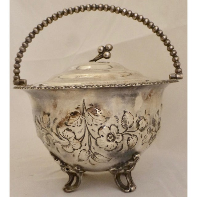 Art Nouveau Silver Plated Covered Bowl w. Floral Decoration For Sale - Image 4 of 13
