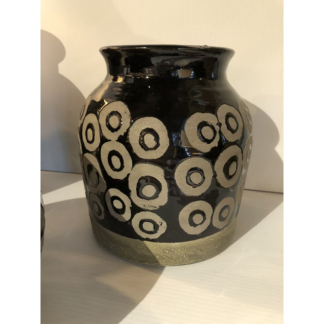 Contemporary 20th Century Moroccan Geometric Ceramic Vases - Set of 3 For Sale - Image 3 of 6