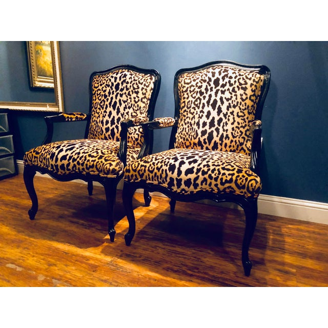 Here kitty kitty! This custom Pair of black lacquered Jamil velvet leopard armchairs do not disappoint! Make a statement...
