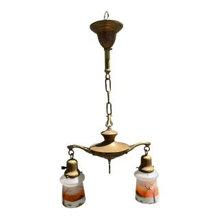 Vintage Brass Two Light Hanging Fixture With Vintage Shades For Sale