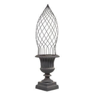 1940's Vintage Cast Iron Urn With Topiary Trellis For Sale