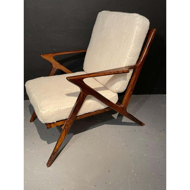 Ib Kofod-Larsen Mid-Century Modern Rosewood or Walnut Armchairs Sherpa, Upholstered - a Pair For Sale - Image 4 of 10