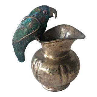 Los Castillo Mexican Creamer With Malachite Parrot Handle. Mexico, C. 1960s For Sale