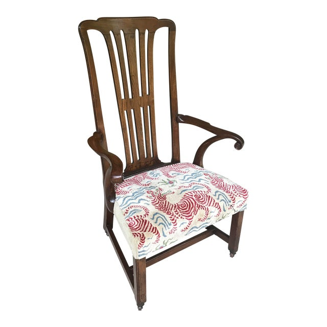 Vintage Walnut Arm Chair With Clarence House Tibet Tiger Upholstery For Sale