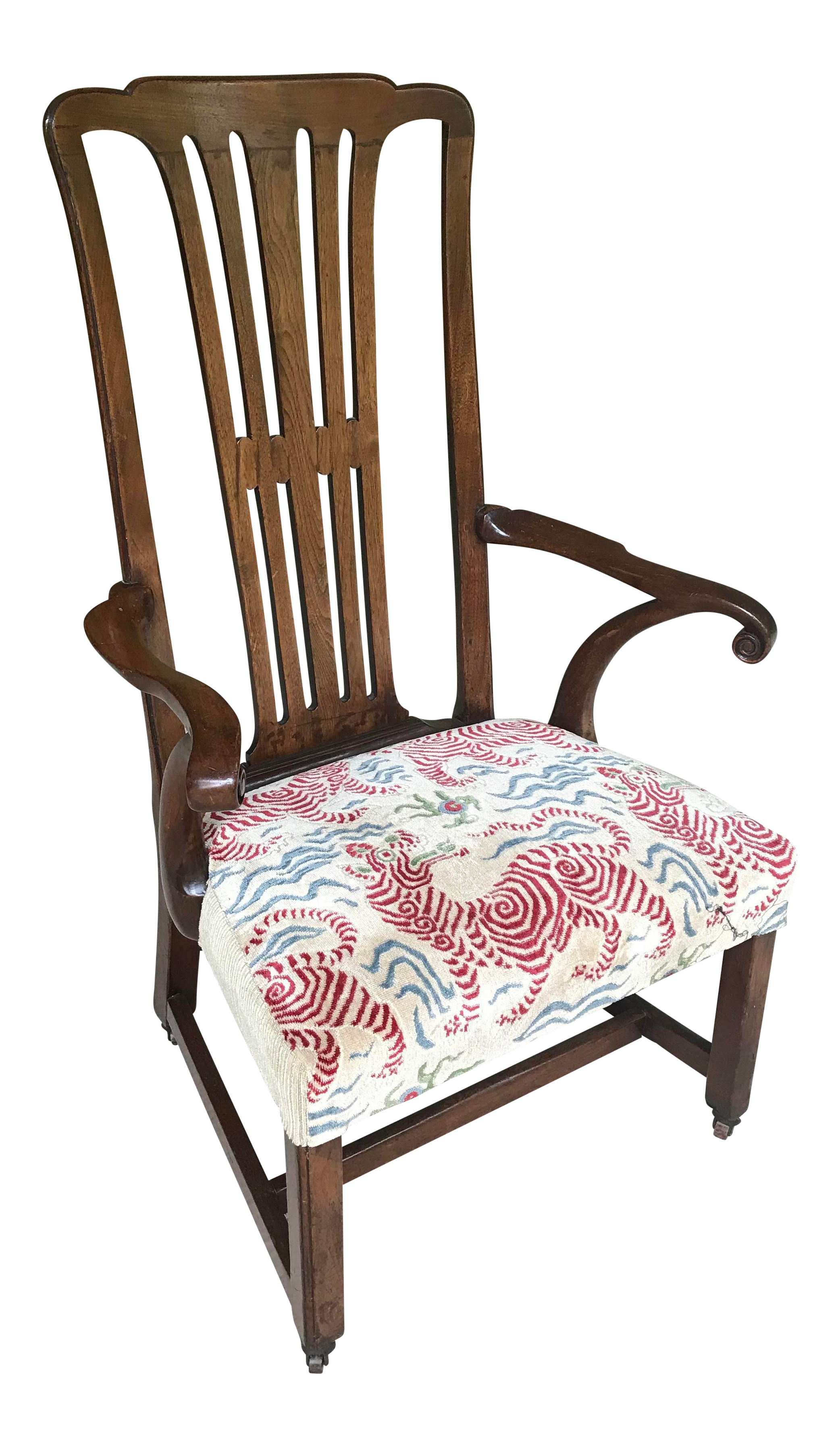 Vintage Walnut Arm Chair With Clarence House Tibet Tiger Upholstery
