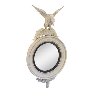 19th Century English Regency White Convex Carved Eagle Mirror For Sale