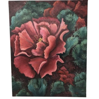 Cactus Flower Acrylic Painting For Sale