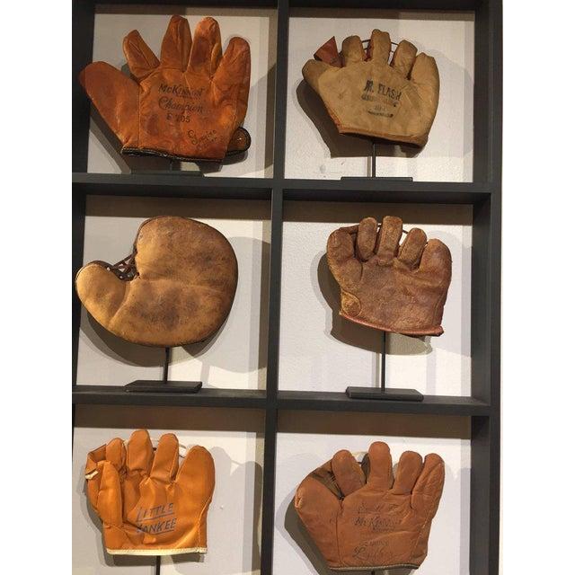 Rare Antique Miniature Children's Set of Nine Custom Framed Baseball Gloves Mitt - Image 9 of 10