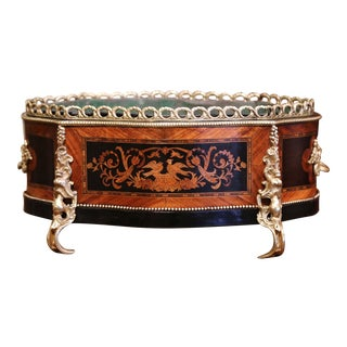 19th Century French Rosewood Bombe Jardinière With Marquetry and Bronze Mounts For Sale