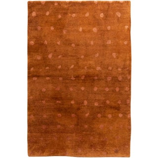 Contemporary Hand Knotted Golden Brown Dot Rug For Sale