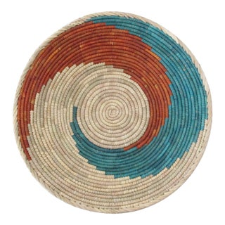 Hand Woven Turquoise & Red Swirl Basket