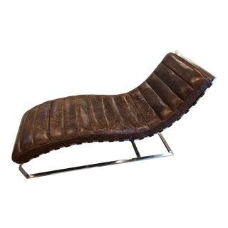 Modern Restoration Hardware Oviedo Leather Chaise For Sale