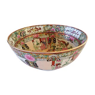 Rose Canton Decorated Painted Bowl For Sale