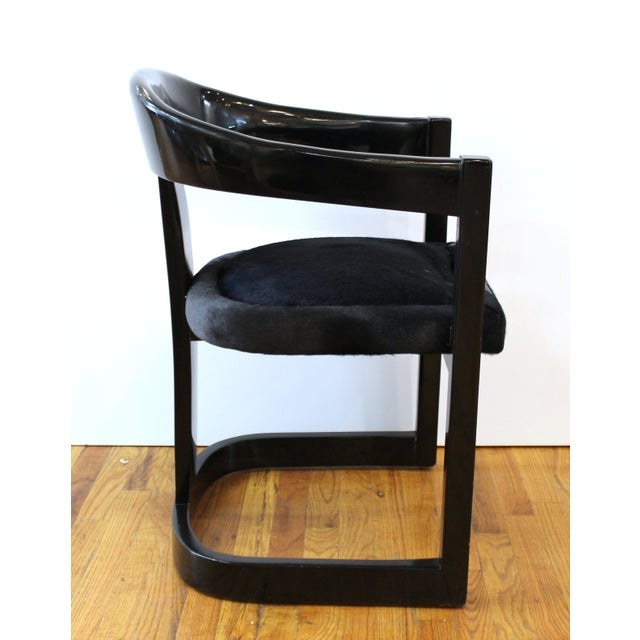 Modern Karl Springer Modern 'Onassis' Black Lacquer Armchairs With Pony Hair Seats For Sale - Image 3 of 12