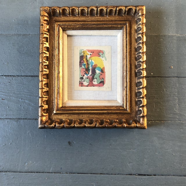 Vintage Original Miniature Ralph Nelson Abstract Painting Vintage Frame 1950's For Sale In Philadelphia - Image 6 of 6