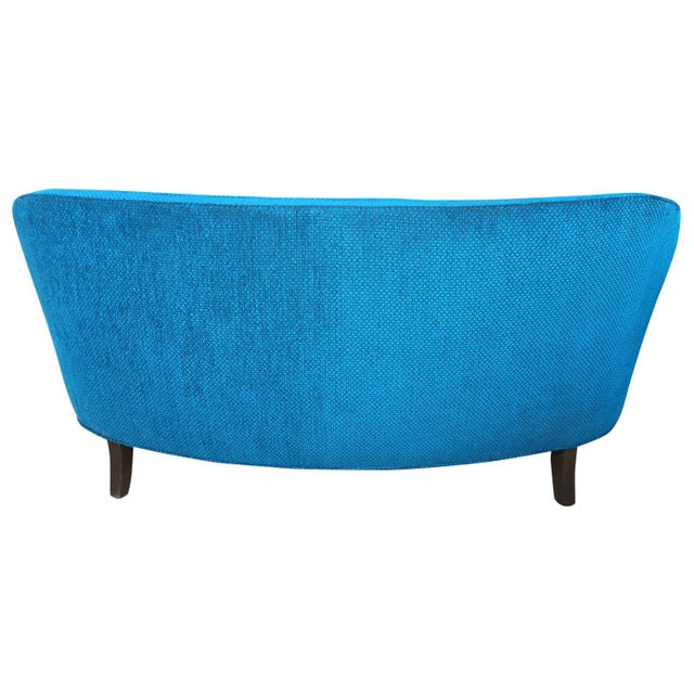 Mid-Century Modern Fully Restored Peacock Blue 1960's Mid Century Settee For Sale - Image 3 of 5