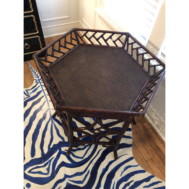 1960s 1960s Burnt Bamboo Rattan Tray Table For Sale - Image 5 of 9