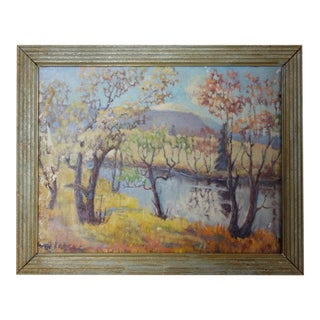 Vintage Oil on Canvas Fall Landscape Painting For Sale