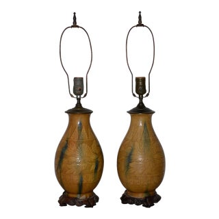 Pair of Chinese Sancai Style Glazed Ceramic Lamps C.1940s For Sale