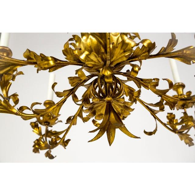 Gold Gilt Palm Leaf Regency Chandeliers (2 Available) For Sale - Image 8 of 13
