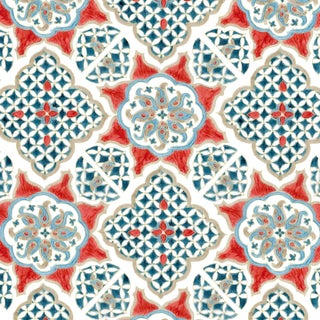 Ferran Ming Medallion Fabric, 2 Yards, Red in Linen/Cotton For Sale