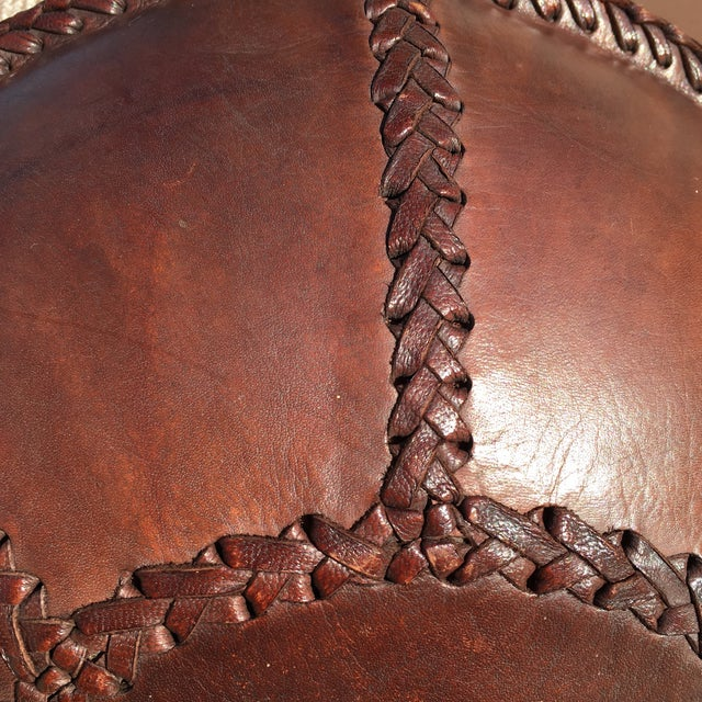 Vintage Bohemian Hand Stitched Leather Floor Pillow - Image 4 of 11
