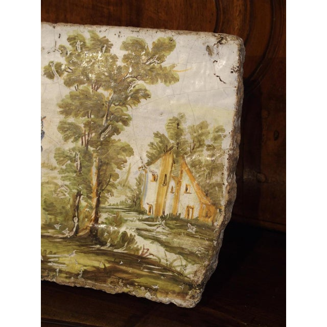 Italian Antique Painted Tile from Italy, 17th Century For Sale - Image 3 of 6
