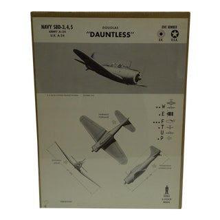 """Vintage WWII Aircraft """"Douglas Dauntless"""" Recognition Poster"""