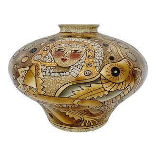 Vintage Alexander Kalifano Large Gold Vase For Sale