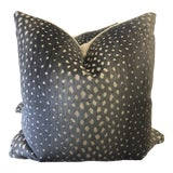 """Image of Thibaut """"Gazelle"""" in Charcoal 22"""" Pillows-A Pair For Sale"""