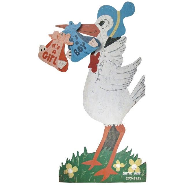 Large Vintage Hand Painted Stork Sign For Sale