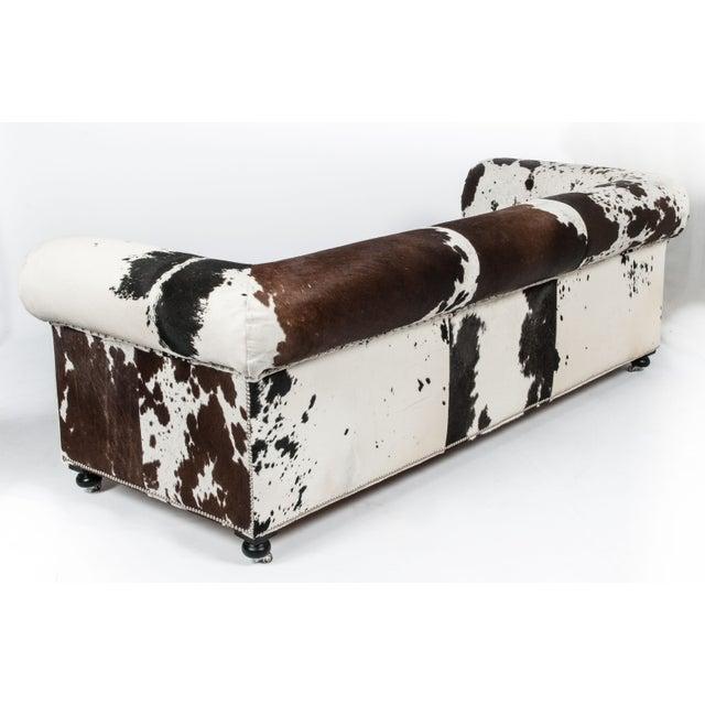 Cowhide Sofa with Nailhead Trim - Image 3 of 5