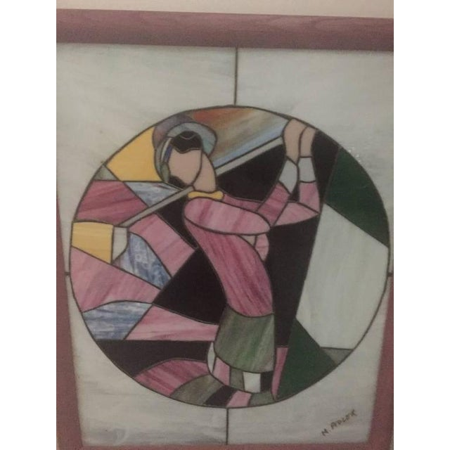 Art Deco Signed Art Deco Stained Glass Woman Golfer For Sale - Image 3 of 9