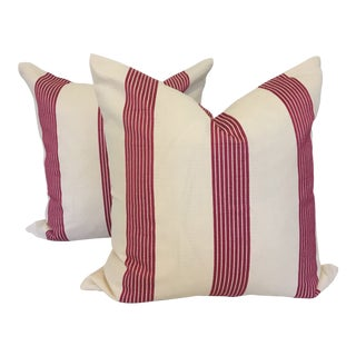 Indoor / Outdoor Fuschia and Off White Striped Pillows - A Pair For Sale