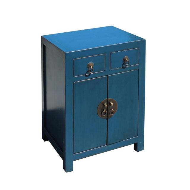 Chinese Oriental Distressed Teal Blue Chathams Lacquer Side End Table Nightstand For Sale - Image 3 of 7
