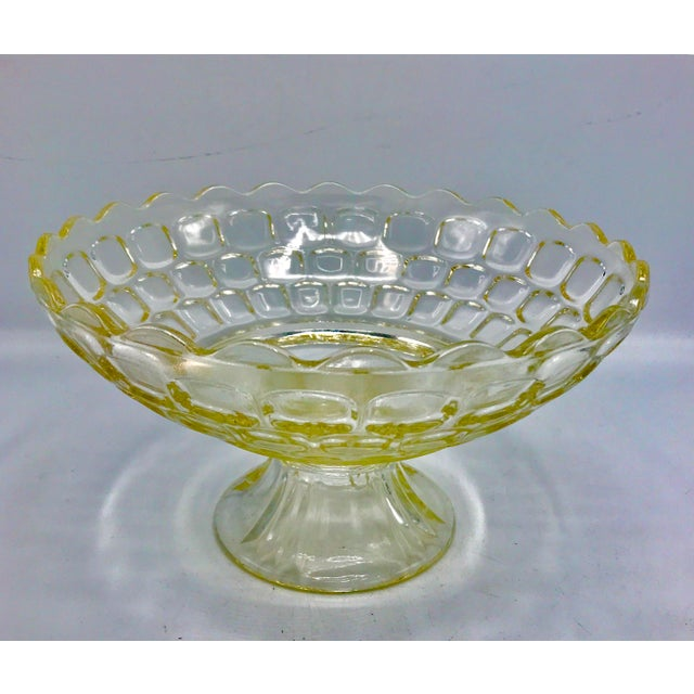 Federal Glass 1940s Federal Glass Topaz Honeycomb Pedestal Centerpiece Bowl For Sale - Image 4 of 7