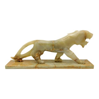 Large Mid-Century Carved Onyx Marble Tiger Sculpture For Sale