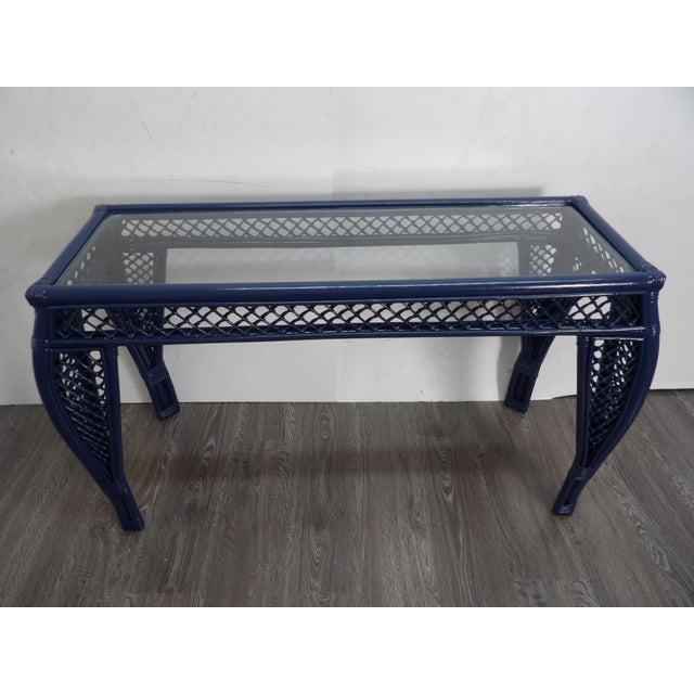 Mid 20th Century Vintage Navy Lacquer Finish Bamboo Rattan Glass Topped Console Table For Sale - Image 5 of 7