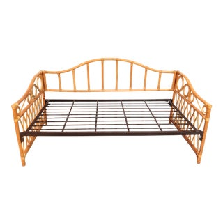 Vintage Natural Rattan Coastal Beachy Boho Chic Daybed For Sale