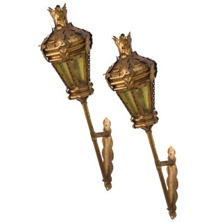 Pair of Italian Gilt Metal Lantern Sconces