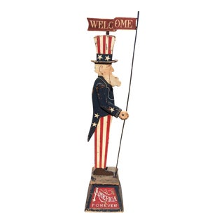 Uncle Sam Folk Art Welcome Sign/Mascot Statue