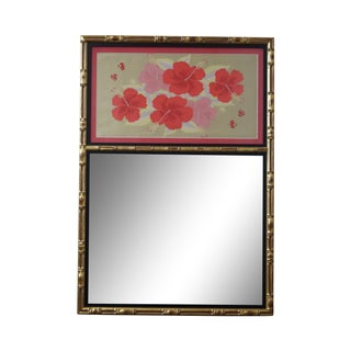 Faux Bamboo Gilt Frame Trumeau Mirror For Sale