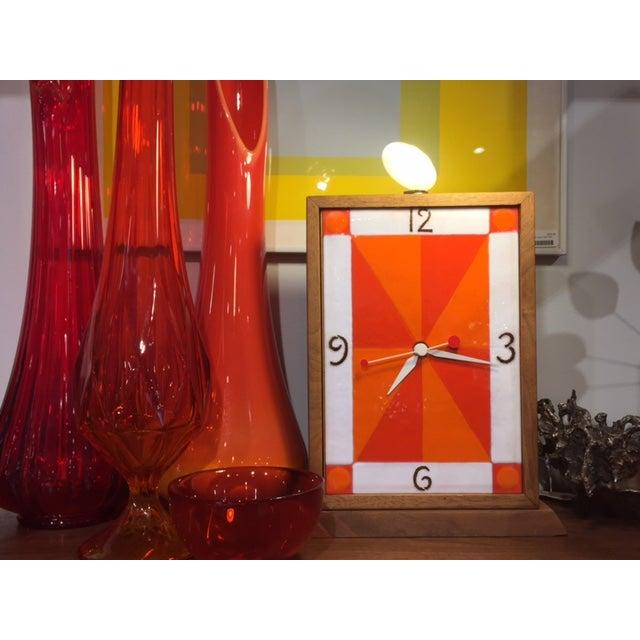 Vintage Modern Enamel on Copper Clock - Image 4 of 8
