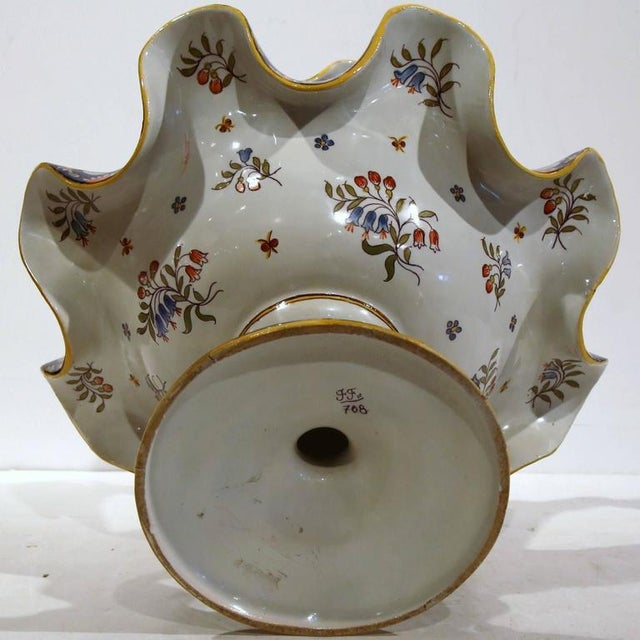 White Early 20th Century French Hand-Painted Vase For Sale - Image 8 of 9