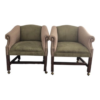 Vintage Green Upholstered Nailhead Club Chairs - a Pair