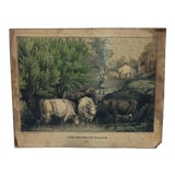 "Image of Antique ""The Watering Place"" Mounted Original Lithograph Print C. 1870 For Sale"