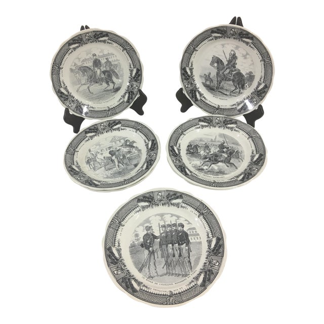 Sarreguemines French Military Life Plates - Set of 7 For Sale