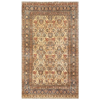 Antique Persian Tabriz Ivory Rug - 6′5″ × 10′5″ For Sale